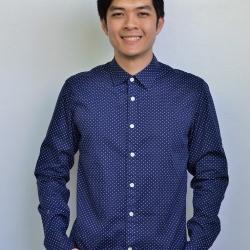 ME012 เสื้อเชิ้ตผู้ชาย สีน้ำเงินลายจุด