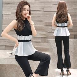 ชุดเซต เสื้อแขนกุด กางเกงขาม้า ผ้ายืด ทรงสวยสุภาพ แฟชั่นเกาหลี