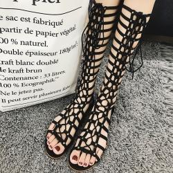 รองเท้าแตะสีดำ ส้นแบน สไตล์ยุโรป แฟชั่นหนังแท้ หัวปลา ทรงสาน ร้อยเชือกด้านหน้า ซิปด้านหลัง ใส่ง่าย สวย แฟชั่นหน้าร้อน สำเนา