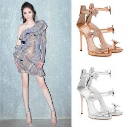 [มีหลายสี] รองเท้าผู้หญิงส้นสูง ใส่ออกงาน หนังคาดหน้าสวยปราดเปรียว ซิปหลัง ส้นสูง 3.5 นิ้ว