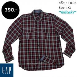 C1495 เสื้อลายสก๊อต ผู้ชาย สีแดง GAP