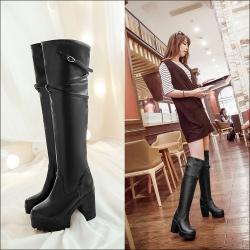 [มี2สี] รองเท้าบูทยาวผู้หญิงส้นสูง แฟชั่นหนัง pu ส้นสูง 4 นิ้ว