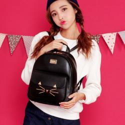 [มีหลายสี] กระเป๋าเป้สะพายหลัง แฟชั่นหนัง pu สีพื้น ดีไซน์สวย น่ารัก สไตล์เกาหลี