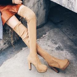 [มีหลายสี] รองเท้าบูทยาวผู้หญิงส้นสูง ส้นใหญ่ แฟชั่นหนังนิ่ม ยืดหยุ่น ผูกเชือกด้านหลัง ส้นสูง 4 นิ้ว