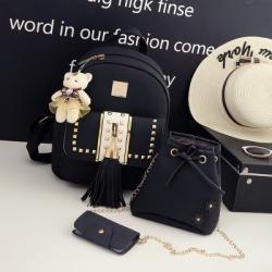 [มีหลายสี] เซต 4 ชิ้น!! กระเป๋าเป้สะพายหลังผู้หญิง แฟชั่นหนังpu แต่งพู่ แถมฟรีพวงกุญแจหมีน่ารัก+กระเป๋าใบเล็ก 2 ใบ (รวม4ชิ้น)