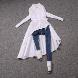 [มีหลายสี] เสื้อเชิ้ตผู้หญิงแขนยาว กระดุมหน้า เชือกผูกเอว ชายเฉียงสุดเก๋ ทรงสวย ดูแพง เนื้อผ้าดีมากค่ะ
