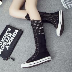 [มีหลายสี] รองเท้าบูท ผ้าใบแฟชั่น แบบผูกเชือก บูทยาวระดับเข่า แต่งหมุด ซิปด้านใน สไตล์เกาหลี