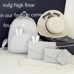 [มีหลายสี] เซต 4 ชิ้น!! กระเป๋าเป้สะพายหลังผู้หญิง แฟชั่นหนัง pu แต่งหูกระต่าย น่ารัก แถมฟรีกระเป๋าใบเล็กอีก 3 ใบ (รวม 4 ใบ) ตามรูปค่ะ
