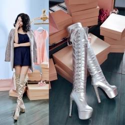 [มีหลายสี] รองเท้าบูทยาวผู้หญิงส้นสูง เซ็กซี่ งานหนัง pu ผูกเชือกด้านข้าง ส้นสูง 6 นิ้ว / เสริมหน้า 2.5 นิ้ว