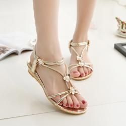 [มี2สี] รองเท้าแตะโรมัน หนังpu หัวปลา ส้นเตี้ย ประดับมุกไตล์โบฮีเมียน มีสายรัดข้อ ทรงสวยใส่สบาย ระบายอากาศ