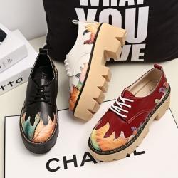[มีหลายสี] รองเท้าผู้หญิงมาร์ติน ส้นตึก รุ่นไม่หุ้มข้อ หนัง PU แฟชั่นสไตล์อังกฤษ