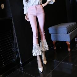 [มีหลายสี] กางเกงผู้หญิงนำเข้า ขากระดิ่ง ช่วงล่างแต่ลายลูกไม้หวาน ทรงสวย เปรี้ยว สไตล์เกาหลี