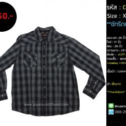 C2399 เสื้อเชิ้ตลายสก๊อต สีเทา คาวบอย
