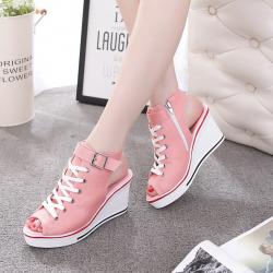 [มีหลายสี] รองเท้าผ้าใบส้นสูง หุ้มข้อ ทรงหัวปลา เปิดส้น แบบผูกเชือก แต่งหัวเข็มขัดรัดข้อ ซิปด้านใน ทรงสวยใส่สบาย น้ำหนักเบา แฟชั่นสไตล์เกาหลี