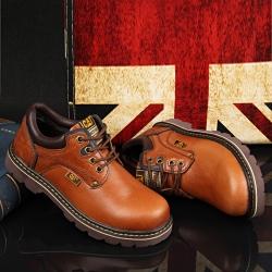 รองเท้าหนัง CAT-CATERPILLAR รองเท้าเดินป่า สีน้ำตาล หนังแท้ พื้นยางนุ่มๆ สินค้างาน AAA+ รุ่นไม่หุ้มข้อ