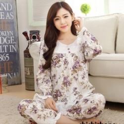 ชุดนอนเกาหลีขายาวลายดอกไม้ set 1 สีม่วง