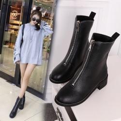 รองเท้าบูทสั้นผู้หญิงทรงมาร์ติน แฟชั่นหนัง pu สีดำ ซิปด้านหน้า สวย สไตล์อังกฤษ