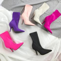 [มีหลายสี] รองเท้าบูทสั้น หัวแหลม ส้นสูง ส้นเข็ม บูทผู้หญิงทรงมาร์ติน หนังไมโครไฟเบอร์ สวย แฟชั่นสไตล์อังกฤษ