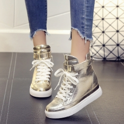 [มี2สี] รองเท้าผ้าใบหุ้มข้อ เสริมส้นสูงด้านในสไตล์เกาหลี วัสดุหนังสีเงิน-สีทอง ติดเทปด้านหน้า สวย ส้นสูง 2 นิ้ว