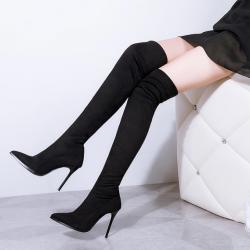 [มีหลายสี] รองเท้าบูทยาวเหนือเข่า หัวแหลม ส้นสูง งานหนังpu+ผ้ายืด ทรงสวยส้นสูง 4 นิ้ว