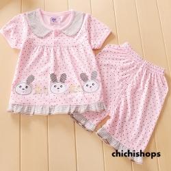 ชุดนอนเด็กน่ารัก set 4 กระต่ายสีชมพู