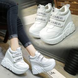 [มี2สี] รองเท้าผ้าใบเสริมส้นแฟชั่นเกาหลี Velcro วัสดุหนัง PU ทรงสวย ส้นสูง 5 นิ้ว รวมด้านใน