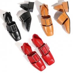 [มีหลายสี] รองเท้าส้นสูง หุ้มส้น หนังไมโครไฟเบอร์ แต่งเข็มขัด เก๋ๆ ทรงย้อนยุค ใส่เที่ยว ใส่ทำงานสวยเรียบๆ ดูแพงค่ะ