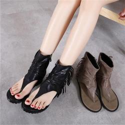 [มี2สี] รองเท้าแตะคีบผู้หญิงหุ้มข้อ ซิปหลัง แฟชั่นหนังไมโครไฟเบอร์ แต่งพู่ สวย เสริมส้นสูงด้านใน 1.5 นิ้ว