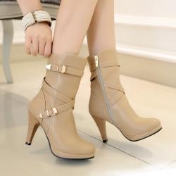 [มี2สี] รองเท้าบูทสั้นผู้หญิงส้นสูง หนังpu ทรงมาร์ติน แต่งหัวเข็มขัด ซิปด้านใน ทรงสวย แฟชั่นสไตล์อังกฤษย้อนยุค ส้นสูง 3.5 นิ้ว / บูทยาว 6.5 นิ้ว
