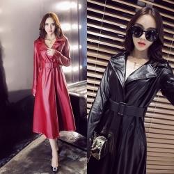 [มี2สี] เสื้อโค้ทผู้หญิง กันหนาว หนังpu แฟชั่นสไตล์เกาหลี แถมฟรีเข็มขัด 1 เส้น