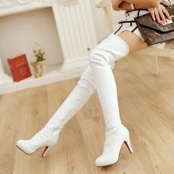 [มีหลายสี] รองเท้าบูทยาวผู้หญิง ส้นสูง เซ็กซี่ แฟชั่นหนัง pu ซิปด้านใน บูทยาวเหนือเข่า สีพื้น สวย สไตล์ยุโรป ส้นสูง 4 นิ้ว