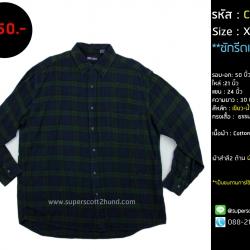 C2552 เสื้อลายสก๊อตผู้ชายมือสอง สีเขียว ไซส์ใหญ่