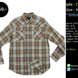 C2386 เสื้อเชิ้ตลายสก๊อต สีน้ำตาล คาวบอย กระดุมมุก