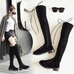 รองเท้าบูทยาวเหนือเข่า ผูกเชือก ซิปด้านใน แฟชั่นหนังนิ่ม ทรงสวย เก๋ สไตล์อังกฤษย้อนยุค