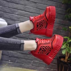 [มีหลายสี] รองเท้าผ้าใบแฟชั่นเกาหลี ส้นตึก วัสดุหนังpu เสริมส้นสูงด้านใน 12 cm