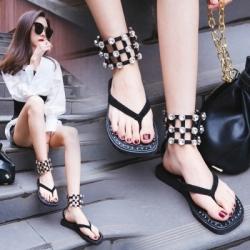 รองเท้าแตะคีบ ส้นแบน แฟชั่นหนังแท้ สีดำ ทรงหุ้มข้อ ซิปหลัง แต่งเพชรหรูหรา สวย เปรี้ยว ดูแพง แฟชั่นสไตล์ยุโรป
