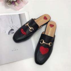 [มีหลายสี] รองเท้าคัทชู เปิดส้น หนังpu นิ่ม งานปัก แต่งอะไหล่ด้านหน้า งานสวย สไตล์กุชชี่ (ครบไซส์ 34-41)