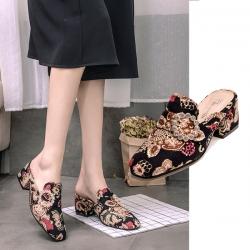รองเท้าคัทชูส้นสูง หัวปิดเปิดส้น แฟชั่นหนัง pu แต่งเพชร สวย เก๋ น่ารัก ส้นสูง 2.5 นิ้ว