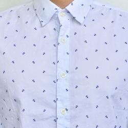 ME008 เสื้อเชิ้ตผู้ชายสีขาว ลายสมอเรือ