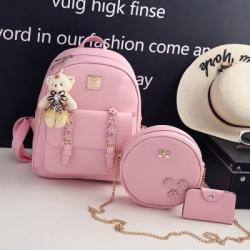 [มีหลายสี] เซต 4 ชิ้น!! กระเป๋าเป้สะพายหลังผู้หญิง แฟชั่นหนังpu ปักลายดอกไม้ แถมฟรีพวงกุญแจหมีน่ารัก+กระเป๋าใบเล็ก 2 ใบ (รวม4ชิ้น)