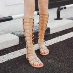 [มี2สี] รองเท้าแตะคีบ ส้นแบน ทรงสานพันรอบขา สูงระดับเข่า ซิปด้านหลัง ใส่สบาย แฟชั่นหนังแท้คุณภาพสูง ทรงสวยสไตล์ยุโรป
