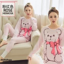 ชุดนอนแขนยาวลายหมีสีชมพู
