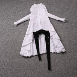 [มีหลายสี] เสื้อเชิ้ตผู้หญิง แขนยาว กระดุมหน้า ทรงหน้าสั้น-หลังยาว