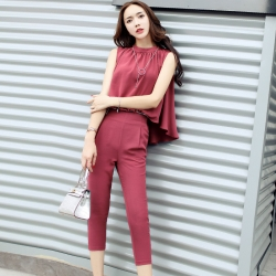 [มีหลายสี] ชุดเซต เสื้อแขนกุดทรงหน้าสั้น หลังยาว พริ้วสวย กางเกงห้าส่วน ทรงสุภาพ สวยดูแพง