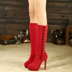 [มี2สี] รองเท้าบูทยาวผู้หญิง ส้นสูง หนังนิ่ม ซิปด้านใน แต่งกระดุมด้านข้าง ส้นสูง 5 นิ้ว / แพลตฟอร์มสูง 1.5 นิ้ว