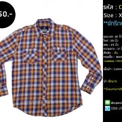 C2398 เสื้อเชิ้ตลายสก๊อตมือสอง สีส้ม กระดุมมุก