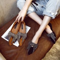 [มี2สี] รองเท้าคัทชูแฟชั่น หนังนิ่ม ส้นแบน หน้าแต่งเพชรเป็นรุปโบว์