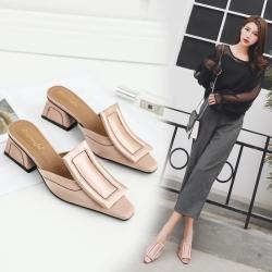 [มีหลายสี] รองเท้าคัทชู แบบสวม แฟชั่นหนัง pu+ผ้าซาติน ทรงสวย ส้นสูง 2 นิ้ว