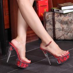 [มีหลายสี] รองเท้าส้นสูงใส่ออกงาน รองเท้าเจ้าสาว ส้นแก้วคริสตัล หัวปลา มีสายรัดส้น ด้านในแต่งดอกกุหลาบ สวยหรู สไตล์เจ้าหญิง แพลตฟอร์มสูง 2 นิ้ว ส้นสูง 6 นิ้ว