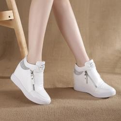 [มี2สี] รองเท้าหนัง pu พื้นหนา เสริมส้นสไตล์เกาหลี แต่งซิปด้านข้าง+ด้านใน ประดับเพชร สวยวุ้งวิ้ง ไม่หุ้มข้อ ส้นสูง 2 นิ้ว